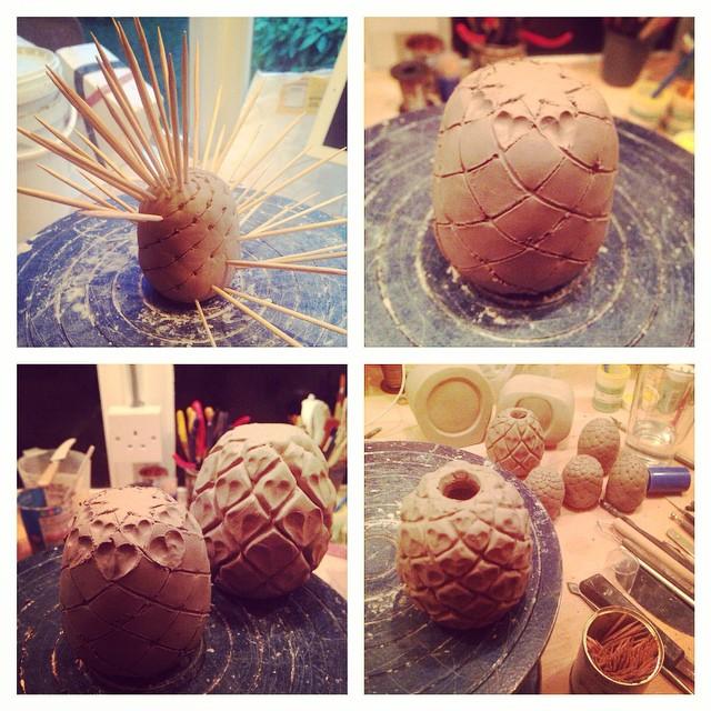 Making pineapples #ceramics #giantcharms #charmbracelet #giant #jewellery