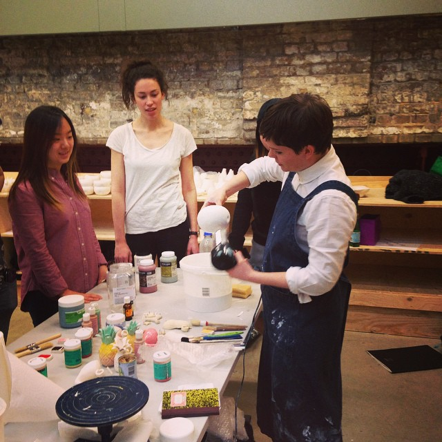 Glazing with my lovely #CSM #FAD #ceramics #students today. Thanks for the photo @jackbarnetto