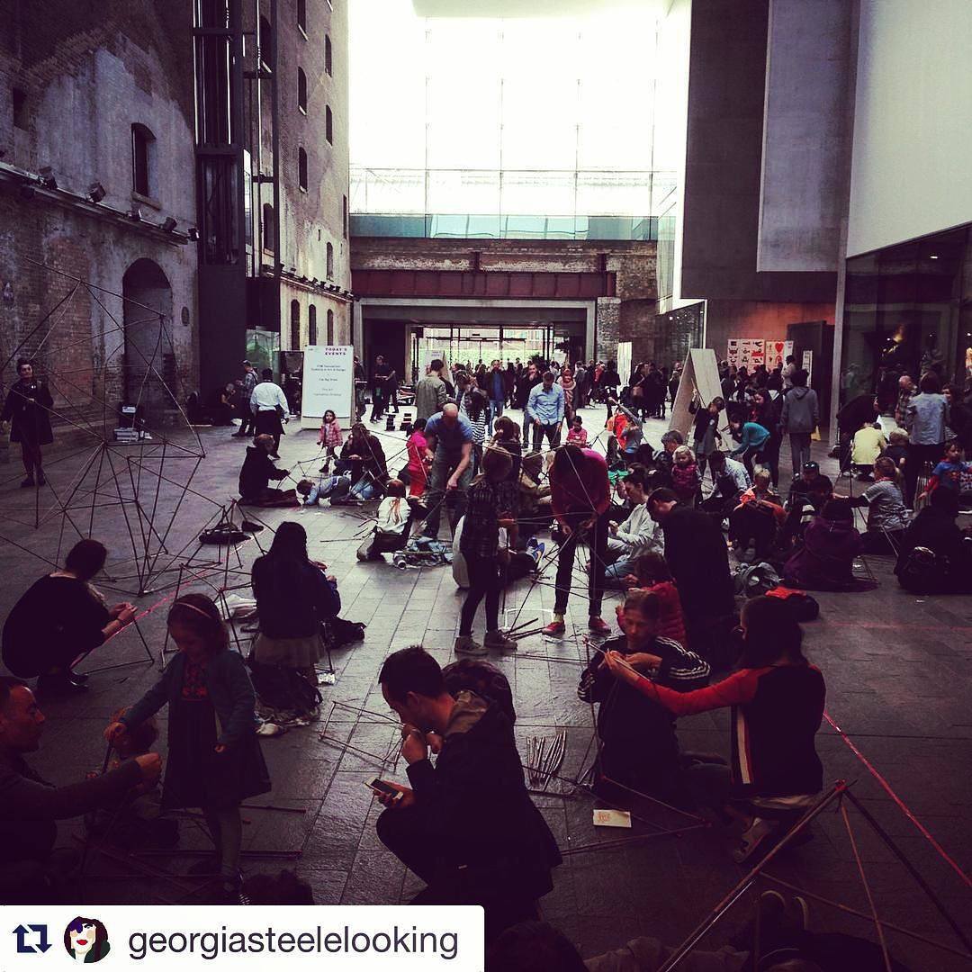 #Repost @georgiasteelelooking with @repostapp. ・・・ #thebigdraw fabulous 3D drawing workshop. Budding architects of all ages absorbed in making their bamboo structures! @alaistair_s and @nicola_malkin in there somewhere